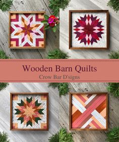 Barn quilts are perfect for adding color, texture, and design to any wall space in your home. These four barn quilts feature star and geometric quilt block patterns with a pink and pastel color theme, making them a perfect addition to any country farmhouse inspired, cottage decor, or rustic cabin setting. They make colorful statement pieces in your entryway, living room, kitchen, bedroom, or home office. Order a premade one or order one with custom colors to fit your existing decorating… Barn Quilt Designs, Quilting Designs, Quilt Block Patterns, Pattern Blocks, Geometric Quilt, Wooden Barn, Mosaic Wall Art, Barn Quilts, Country Farmhouse