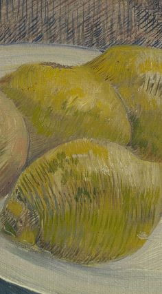 Detail of 'Dish with Citrus Fruit', February-March Vincent van Gogh - Credits (obliged to state): Van Gogh Museum, Amsterdam (Vincent van Gogh Foundation). Van Gogh Drawings, Van Gogh Art, Van Gogh Museum, Vincent Van Gogh, Impressionist, Painters, Still Life, Amsterdam, February