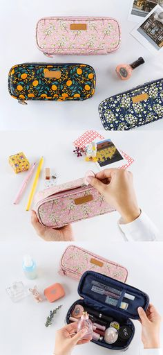 Store writing supplies, make-ups or crafting supplies in the deep and spacious compartment! The mesh open pocket will help you to organize such items much conveniently. Not to mention, the vivid and lovely design of exterior adds much charm to the pouch!