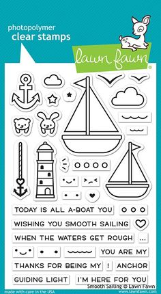 Smooth Sailing Stamp Set by Lawn Fawn Father's Day Lines, Journaling, Small Sailboats, Tampons Transparents, Slider Cards, Lawn Fawn Stamps, Pin On, Scrapbooking, Crisp Image
