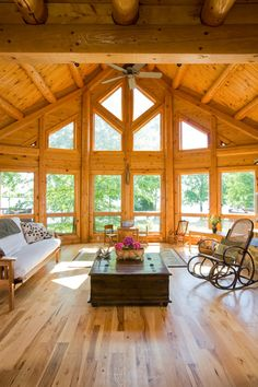Chesapeake Bay Waterfront Log Home   Traditional   Living Room   Dc Metro    By Katahdin Cedar Log Homes