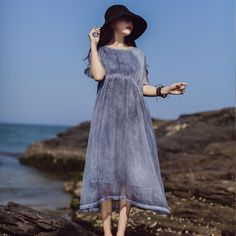 Chic o neck cotton outfit Photography blue Dresses summer Types Of Dresses, Blue Dresses, Summer Dresses, Women's Dresses, Bohemia Dress, Everyday Outfits, Types Of Sleeves, Tunic Tops