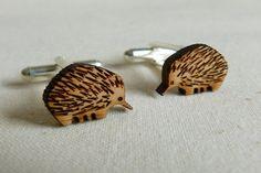 Bamboo wood animal cufflinks created by OneHappyLeaf. #woodcufflinks #groomattire