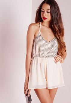 7184608f8a33 Missguided - Strappy Embellished Romper Nude Nude Playsuits
