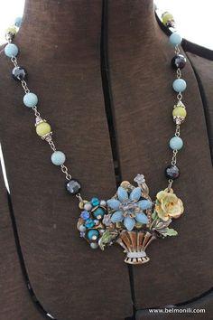 Necklace Blue Flower Basket Collage by belmonili on Etsy, $42.00