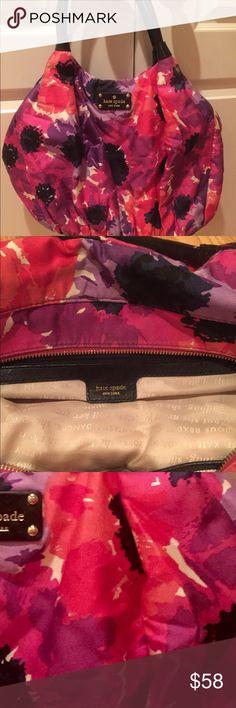 Kate Spade Medium Purse Flower power Kate Spade bag. Pop of color with pink, red and purple. #weekend #weekendapparel #carryonbag #carryallbag #leathertrim kate spade Bags Shoulder Bags