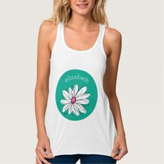 Trendy Floral Daisy Illustration - Pink and Green Flowy Racerback Tank Top Tank Tops