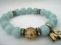 Amazonite Gemstone Stretch Bracelet - Blue, Green, Sparkling Rhinestones - Gold, Elephant, Lucky  - Boho Chic - Summer, Beach Jewelry