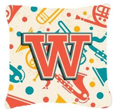 Letter W Retro Teal Orange Musical Instruments Initial Canvas Fabric Decorative Pillow CJ2001-WPW1414, Green