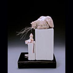 Ceramic Cat Sculpture - Cat Stalking Mice | Fried Cats Ceramics Mice, Clay, Ceramics, Sculpture, Decor, Clays, Decorating, Computer Mouse, Ceramic Art