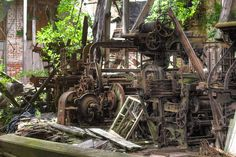 8. Abandoned textile mill, Pawtucket. This old mill is still filled with the original old machinery that is now covered in moss.