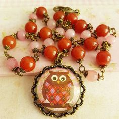 Colorful owl necklace #handmade #jewelry #owl #necklace #etsyshop #etsy #crafts #giftideas #forher