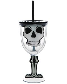 Skeleton Wine Carnival Cup exclusively at Spirit Halloween - Enjoy whatever you're drinking with the Skeleton Wine Carnival Cup. No matter how crazy the party gets enjoy your beverage without worry, as this cup has a cool lid. Also features a funky fun skeleton body. Get it for $9.99