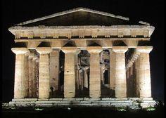 Пестум - Temple of Hera II at night - Paestum