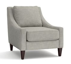 Aiden Upholstered Armchair, Polyester Wrapped Cushions, Premium Performance Basketweave Light Gray