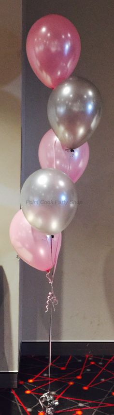 Light pink and silver helium balloon bouquet