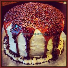 Looking for a #decadent #cake for a #family gathering or #birthday? Our lava flow cake is a #chocolate cake w/#creamcheese #frosting, #homemade #caramel, chocolate ganache & chocolate #sprinkles. One bite will get you wanting more! #TitillatingTuesday http://www.glazecupcakery.com