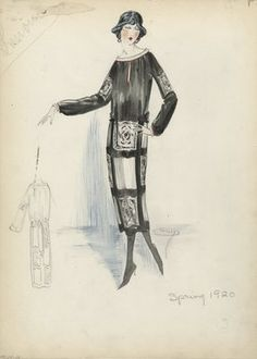 """Day Dress, Lanvin, Spring 1920.  Black and white dress, mid-calf length; large black and white checkerboard design on skirt; loose black bodice, bateau neck edged in white and red, long full sleeves with red edge and a black and white square on each sleeve. (Bendel Collection, HB 034-28)"", 1920. Fashion sketch. Brooklyn Museum, Fashion sketches. (Photo: Brooklyn Museum, SC01.1_Bendel_Collection_HB_034-28_1920_Lanvin_SL5.jpg)"