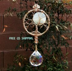 Full Moon Tree of life crystal suncatcher, Large crystal ball & Agate 40mm coin bead, Feng shui, window ornament, Free shipping