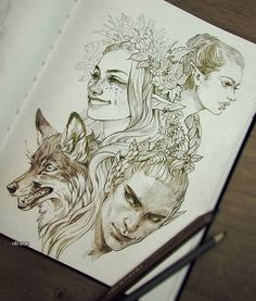 A bunch of flowery elves sketches plus a random fox as a space filler  ....