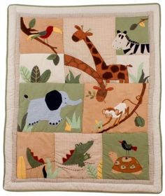 Kids Line Zanzibar Cotbed or Cot Embroidered Quilt