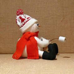 Fabric Snowman Decoration Roasting by SnowmanCollector on Etsy