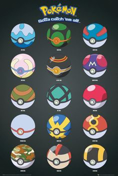 Pokemon Pokeballs - Official Poster - for reference Pokemon Go, Pokemon Party, Pokemon Store, Munier, Pokemon Birthday, Chibi, Pokemon Pictures, Manga, Illustrations