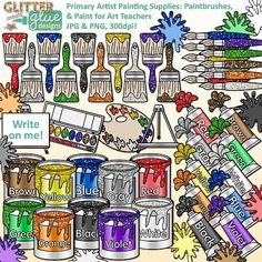 Primary colors artist clipart is perfect for elementary students learning about color theory and art teachers who want to jazz up their art room. Are you a fellow art teacher looking for a creative way to display information about color theory on your classroom bulletin board? Check out this fun clipart set. LINK: https://www.teacherspayteachers.com/Product/Primary-Artist-Painting-Supplies-Clip-Art-1112754 #art $6.00