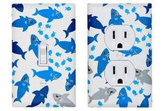 Shark Light Switch Plate & Outlet Cover / Boys Nursery Bathroom Decor / Blue and White Nautical Under the Sea / Shiver Me Timbers. $32.00, via Etsy.