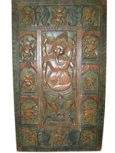 Dancing Ganesha Panel Wood Wall Art Hand Carved Door Panels 80 X 40 Inch Indian Inspired Furniture by Mogul Interior, http://www.amazon.com/dp/B00BLELG16/ref=cm_sw_r_pi_dp_TDiVrb1M7MGEH