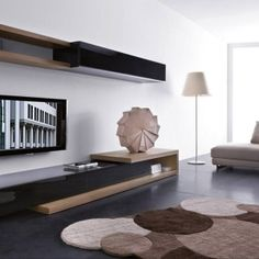 living room tv wall unit designs Modern Living Room with Slim Wall Mounted TV Unit Design Dream Living Room Tv, Living Room Modern, Living Room Furniture, Living Room Designs, Cabinet Furniture, Tv Furniture, Furniture Ideas, Modern Furniture, Library Furniture