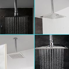 8 Inch Square Rain Shower Head  Ultra Thin High Pressure Rainfall Showerhead 304 Stainless Steel  Silicone Nozzles  Adjustable Brass Swivel Joint  2 Bonus Shower Caps  Elegantly Designed *** Read more at the image link. (This is an affiliate link) #Bath