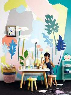 3 Creative Wall Murals for Kids via poppytalk Children's rooms must be plenty of fantasy and happiness to make them feel they are wrapped around them. In order to get this, we can decorate walls with kids' … Kids Wall Murals, Playroom Mural, Mural Art, Kids Room Wall Art, Room Art, Deco Kids, Creative Walls, Creative Kids, Kids Room Design