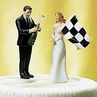 Racing Wedding Cake Topper Couple Figurine