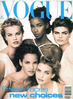 Eva Herzigova, Beverly Peele, Petra Lindblad, Claudia Mason & Nadja Auermann | Photography by Peter Lindbergh | For Vogue Magazine UK | January 1992