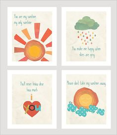 One Kings Lane - Words to Live By - Sunshine Collection Set of 4 Prints