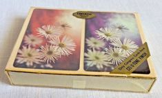 Vintage Double Deck Congress Playing Cards White Flowers Cel U Tone Sealed #Congress