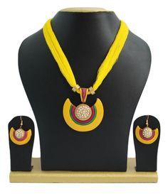 Handmade Terracotta Jewellery, Half Necklace Earring Set, Yellow, White – SharePyar