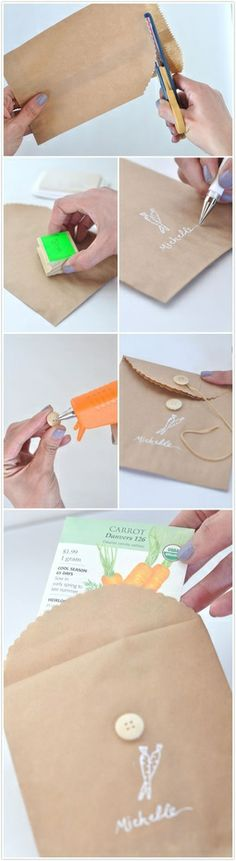 Brown bag into cute personalized envelope