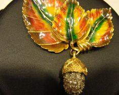 Fall Reduced  vintage coro craft  acorn brooch by gene verri head designer for coro