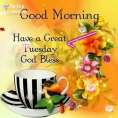 Happy Tuesday Pics, Good Morning Tuesday Images, Happy Tuesday Morning, Tuesday Greetings, Happy Good Morning Quotes, Good Morning Prayer, Cute Good Morning, Morning Blessings, Good Morning Flowers