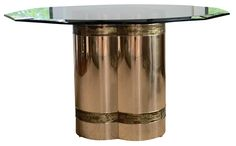 Mastercraft+Brass+and+Glass+Dining+Table+on+Chairish.com