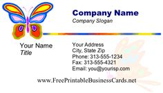 This lovely butterfly business card template takes flight with bright orange, blue, purple and more. Free to download and print