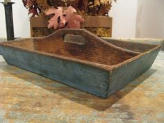 ANTIQUE KNIFE BOX, CUTLERY TRAY, VERY GOOD OLD BLUE PAINT  sold   167.00