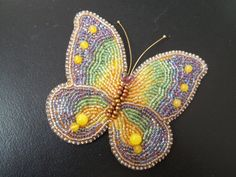 Bead embroidery butterfly brooch. by MilenasBoutique on Etsy