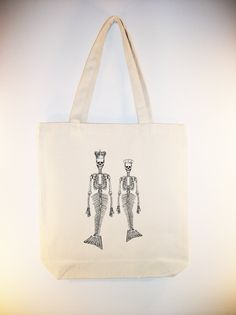 King and Queen Mermaid Skeletons Illustration on Canvas Tote -- larger14x18 zipper top tote available, image in ANY COLOR