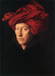 Van Eyck, self-portrait. Inscribed above, with 'As I can'. The self-portrait is not only a representation of what the artist looks like, but what the artist can do; a demonstration of power. This way of seeing art was entirely novel at the time.