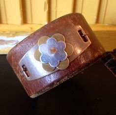Brown vintage leather cuff bracelet with metal layers stamping blanks  on Etsy, $30.00