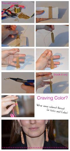 make it & fake it: DIY Gold Tassel Earrings (Step-by-Step)