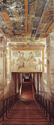 Ramses VI Tomb adjacent to tomb of King Tutankhamen, Egypt. A staircase leads down to the entrance where the lintel is decorated with a traditional scene of Isis Nephthys kneeling at either side of the sun disc. Ancient Egyptian Art, Ancient Aliens, Ancient History, Kairo, Old Egypt, Valley Of The Kings, Ancient Civilizations, Egyptians, Egypt Travel